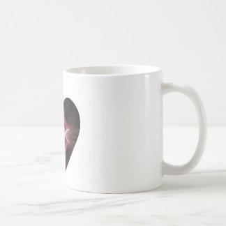 Red and Black Fractal Art Heart Coffee Mug