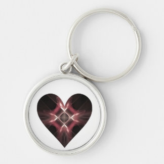 Red and Black Fractal Art Heart Keychain