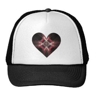 Red and Black Fractal Art Heart Mesh Hat