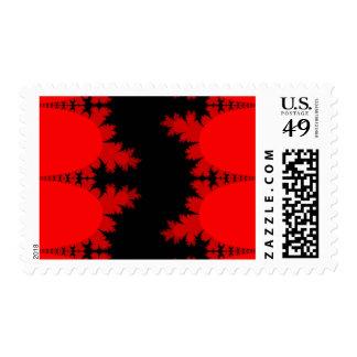 Red and Black Fractal Art Postage Stamps