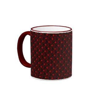 Red And Black Fractal Art Ringer Mug