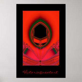 red and black fractal image poster
