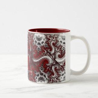 Red and Black Fractal Mug-Rebecca Poole Custom Two-Tone Coffee Mug