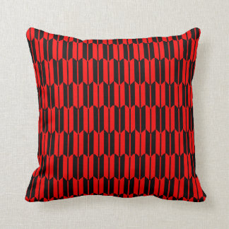 Red and Black Geometric Pattern Throw Pillow