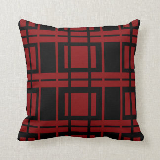 Red And Black Geometric Throw Pillow