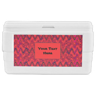 Red and Black Geometric Wave Pattern Chest Cooler