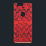 """Red and Black Geometric Wave Pattern Wood Nexus 6P Case<br><div class=""""desc"""">Modern black waves pattern on a red color background. Geometric lines and shapes on a bold abstract design. Contemporary abstract artwork in stylish colors. Personalize with your own name,  message or text</div>"""
