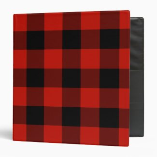 Red and Black Gingham Check Pattern 3 Ring Binder