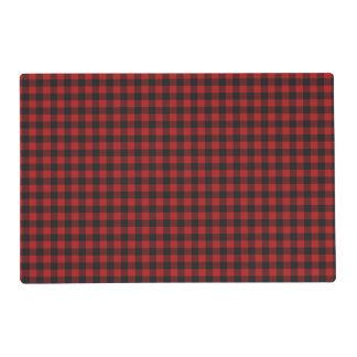 Red and Black Gingham Checked Pattern Placemat
