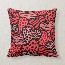 Red and black girly animal print hearts throw pillows