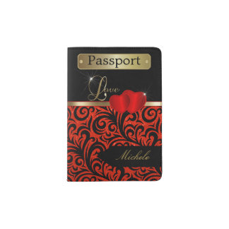 Red and Black Glitter Florid Design | Personalize Passport Holder