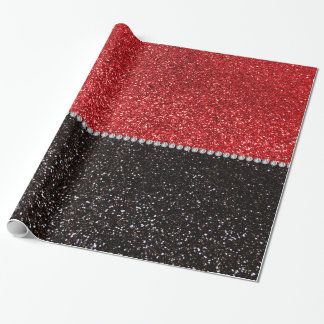 Red and black glitter wrapping paper