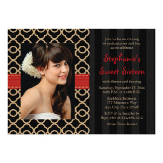 Red and Black Gold Moroccan Sweet Sixteen Photo Announcement