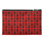 Red and Black Goth Cat Pattern Travel Accessories Bag