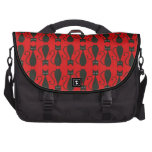 Red and Black Goth Cat Pattern Laptop Commuter Bag