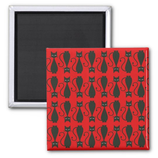 Red and Black Goth Cat Pattern Magnet