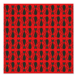 Red and Black Goth Cat Pattern Art Photo