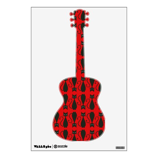 Red and Black Goth Cat Pattern Wall Decal