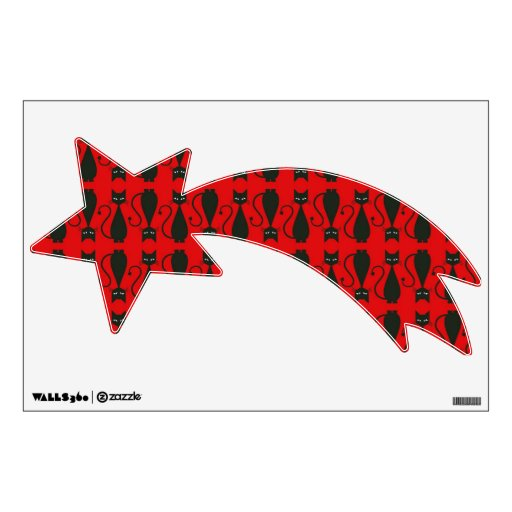 Red and Black Goth Cat Pattern Wall Decals
