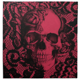 Red and black gothic lace skull. cloth napkin