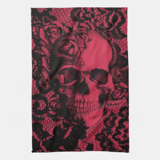 Red and black gothic lace skull. towels