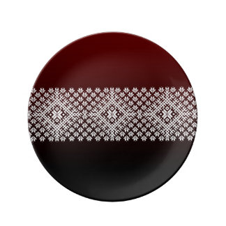 Red and Black gradient and white Nordic Design Dinner Plate