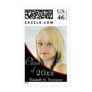 Red and Black Graduation Photo Postage