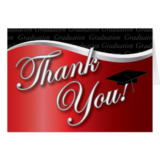 Red and Black Graduation Thank You Card