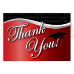 Red and Black Graduation Thank You Greeting Cards