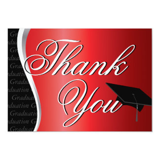 """Red and Black Graduation Thank You 5"""" X 7"""" Invitation Card"""