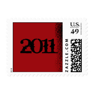 Red and Black Grunge Graduation Postage Stamp