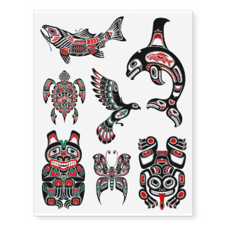 Red and Black Haida Native Animal Collection Temporary Tattoos