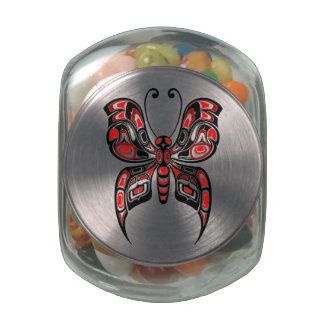 Red and Black Haida Spirit Butterfly Glass Candy Jars