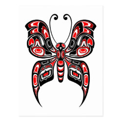 Red and Black Haida Spirit Butterfly on White Postcard