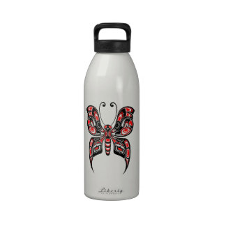 Red and Black Haida Spirit Butterfly Water Bottle