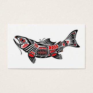 Red and Black Haida Spirit Fish Business Card