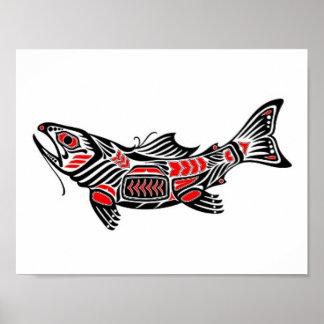 Red and Black Haida Spirit Fish Poster