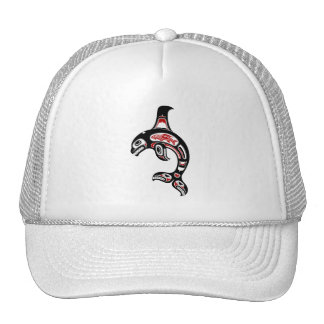 Red and Black Haida Spirit Killer Whale Mesh Hat