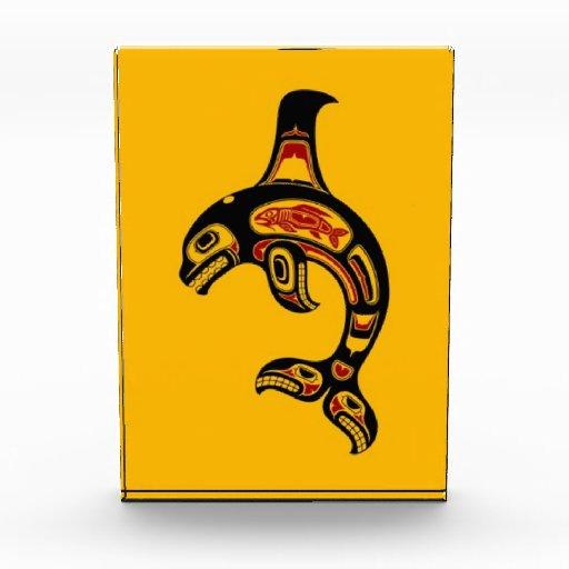 Red and Black Haida Spirit Killer Whale on Yellow Award