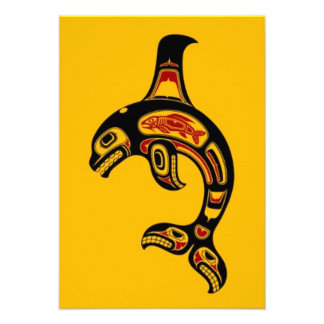 Red and Black Haida Spirit Killer Whale on Yellow Announcement