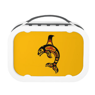Red and Black Haida Spirit Killer Whale on Yellow Yubo Lunch Boxes