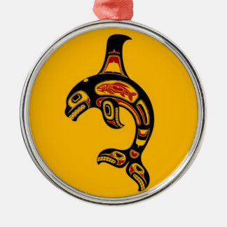 Red and Black Haida Spirit Killer Whale on Yellow Ornament