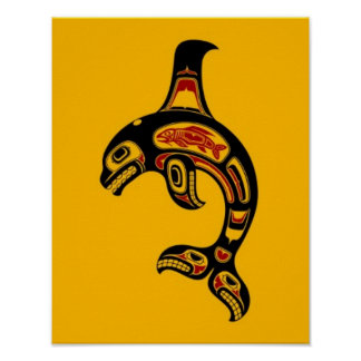 Red and Black Haida Spirit Killer Whale on Yellow Print