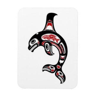 Red and Black Haida Spirit Killer Whale Vinyl Magnets