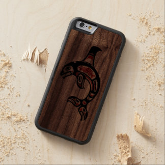 Red and Black Haida Spirit Killer Whale Carved® Walnut iPhone 6 Bumper Case