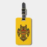 Red and Black Haida Spirit Owl on Yellow Bag Tags