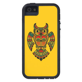 Red and Black Haida Spirit Owl on Yellow iPhone 5 Covers