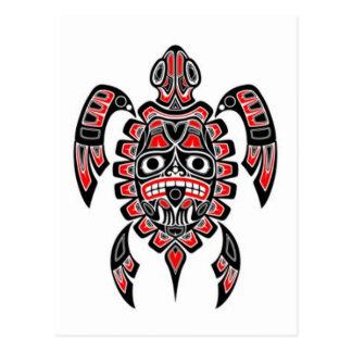 Red and Black Haida Spirit Sea Turtle Postcard