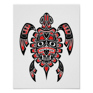Red and Black Haida Spirit Sea Turtle Poster