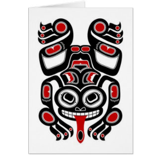 Red and Black Haida Spirit Tree Frog Greeting Cards